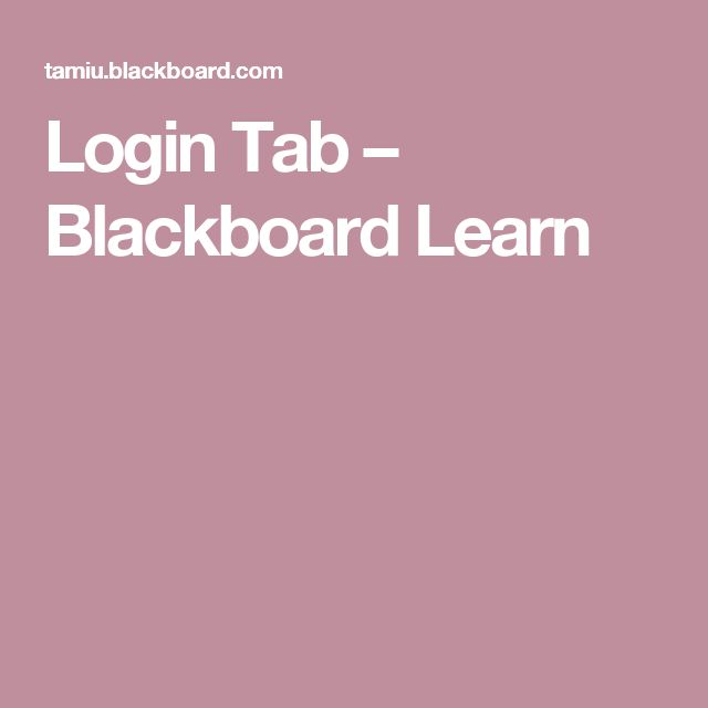 Login Tab – Blackboard Learn