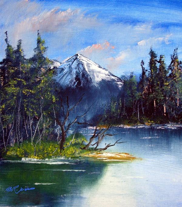 Mountain Lake Oil Painting Of A Scenic Mountain Lake