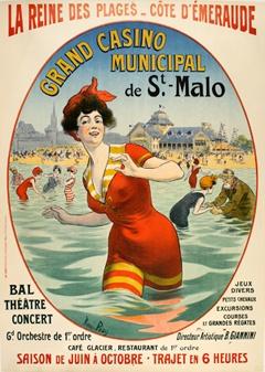 Vintage Travel Poster - St. Malo - La Reine des Plages - Côte d'Émeraude.