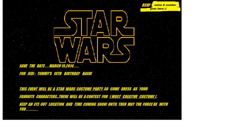 Star Wars Save The Date Postcard, With Important Info