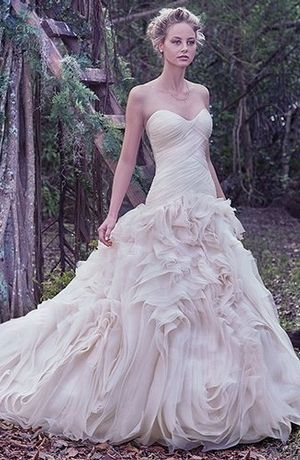 Sweetheart Fit and Flare Wedding Dress  with Dropped Waist in Organza. Bridal Gown Style Number:33415043