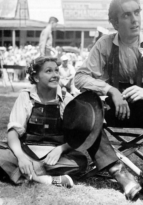Nancy Kelly and Tyrone Power on the set of Jesse James (Henry King, 1939)