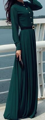 Love this Army Green Maxi Dress.It has pocket at side andfront bottons.It is a wonderful dress in fall.More surpeisse at Romoti.com