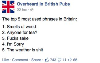 The top 5 most-used phrases in Britain