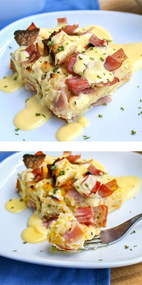 This Eggs Benedict casserole is an overnighter. It's super easy and perfect for breakfast on holidays. It makes me want to douse every casserole ever in hollandaise sauce. // The Food Charlatan