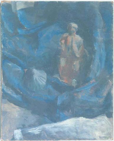 Femme et coquillage sur fond bleu via Le Corbusier