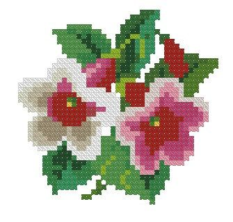 Tiny petunias vintage cross stitch pattern digital