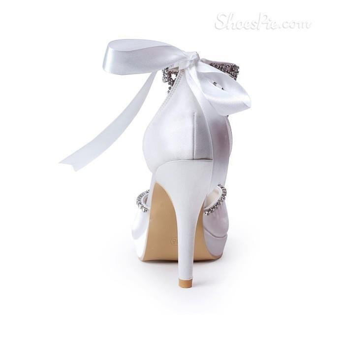 Celebrity Lace Bowknot Rhinestone Bridal Shoes