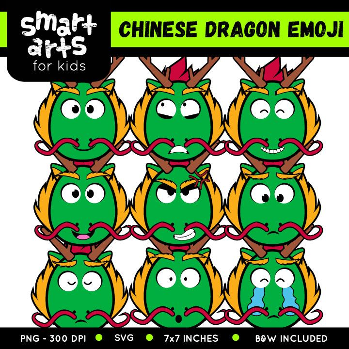 chinese dragon emoji clip art part of the chinese new year colossal bundle clip arts included in this product svg file 9 full colored items 9 black - Chinese New Year Emoji