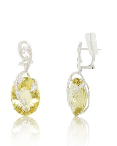 Large Lemon Quartz (36.7 cts) Ovals set in a fanciful design of Diamonds (0.14 cts). 18K White Gold Earrings