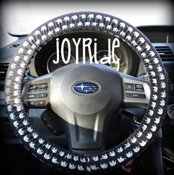 Steering Wheel Cover Black and White Elephants in byJoyRideCovers  @cjbow4
