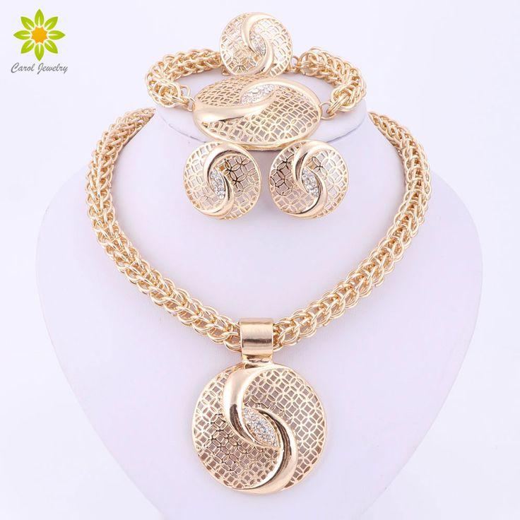 Latest Luxury Big Dubai Gold Plated Crystal Necklace Jewelry Sets Fashion Nigerian Wedding African Beads Costume Jewelry