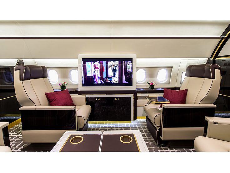 El interior de un jet privado amueblado como un tren vintage Un verdadero desafío para Airbus.