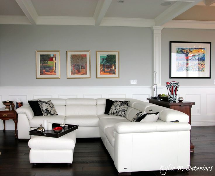 Best Benjamin Moore Gray Paint Color Stonington Gray Shown With White Leather Sectional Dark Wood