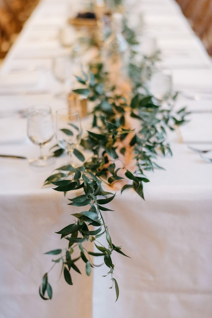 Simple Greenery Foliage Table Runner With Italian Ruscus