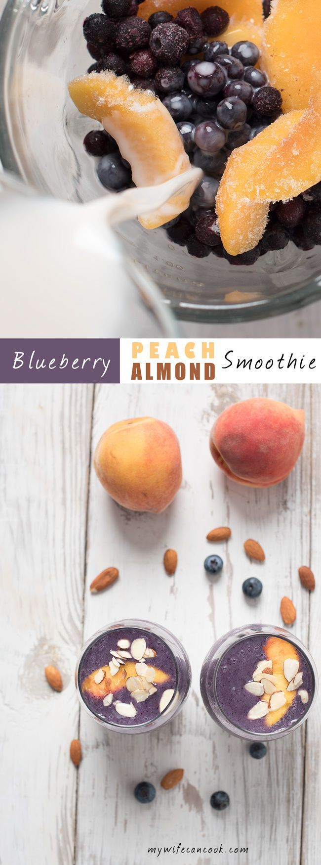 This Blueberry Peach Almond Milk Smoothie can help poweryour healthy family lifestyle. And it's vegan thanks to the almond milk! It's easy to make with only has 5 ingredients: blueberries, peaches, orange juice, bananas, and almond milk. Of course, you can always adapt it to your liking. But fruit smoothies are a great choice for healthy kid and grownup snack options. There are endless variations and lots of reasons to love them; See the post for our top 8 reason to love fruit smoothies!