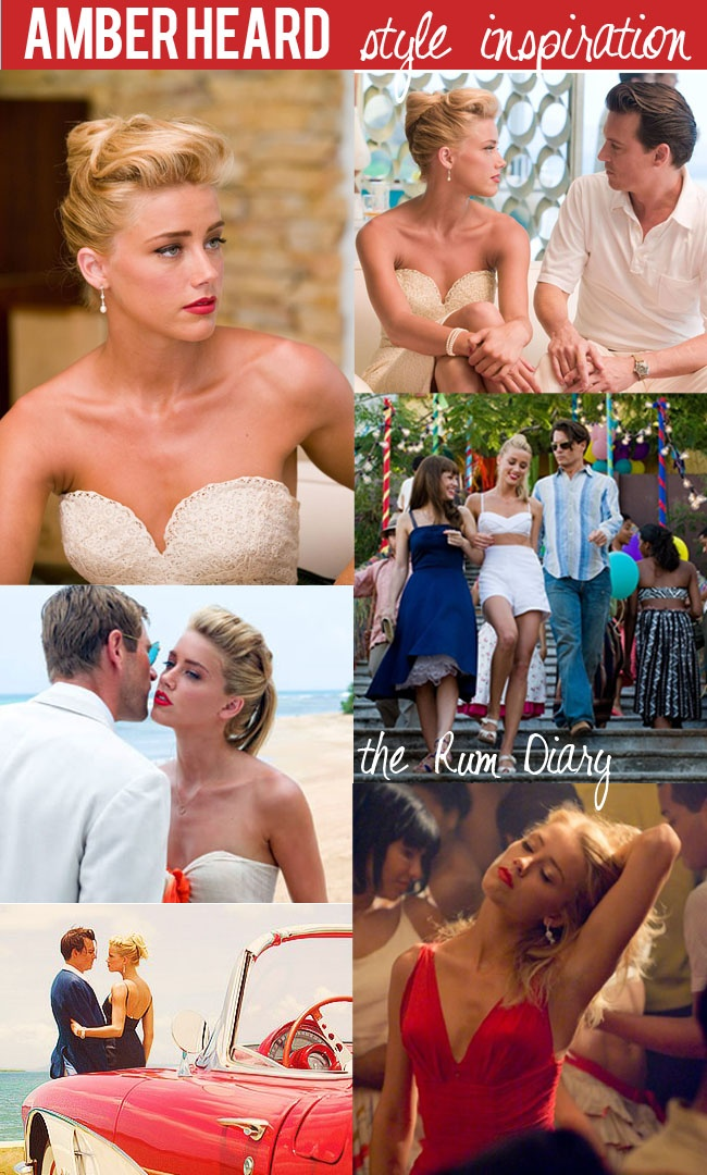 Style Inspiration: Amber Heard in The Rum Diary Red lips, beach, tan skin and lots of white!