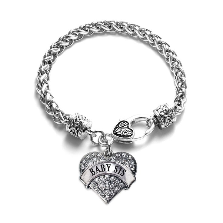 ****Due to high demand item has a 7 to 14 business day processing time prior to shipping.**** This one's for all the baby sisters out there! Our sparkling Pave Heart Bracelet features a beautiful heart with hand set clear crystals and accent black enamel. This 7 1/2 inch white metal bracelet features a sturdy double link and decorative lobster claw clasp and a sleek silver banner that reads Baby Sis! **this is a single bracelet not a set** Proudly made in the USA!