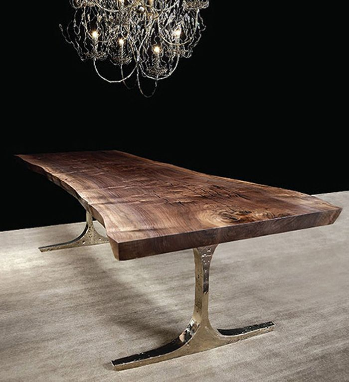 Hudson Furniture KNIGHT BASE TABLE With Handmade Cast Bronze And Claro Walnut Top Find This Pin More On Dining Table 40 X 60