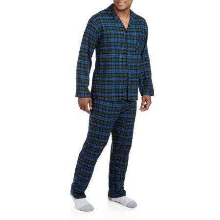 Hanes Men`s Flannel Pajamas, 0140/0140X, XL, Black Green Plaid