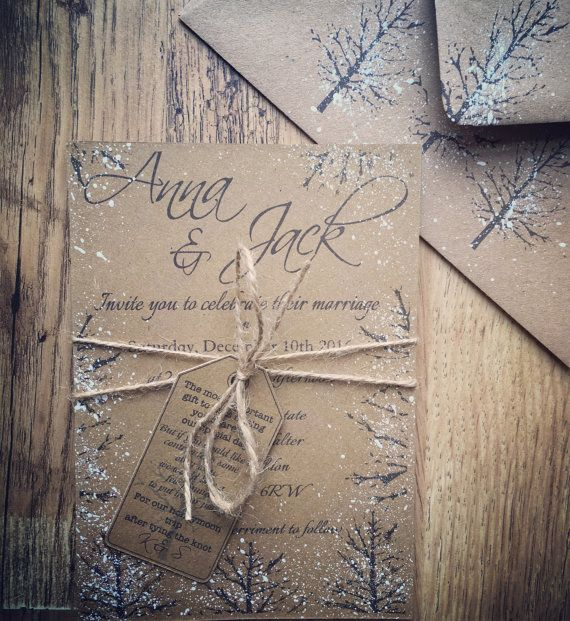 SAMPLE Rustic Winter Wedding Invitation Suite by QuaintlyKate