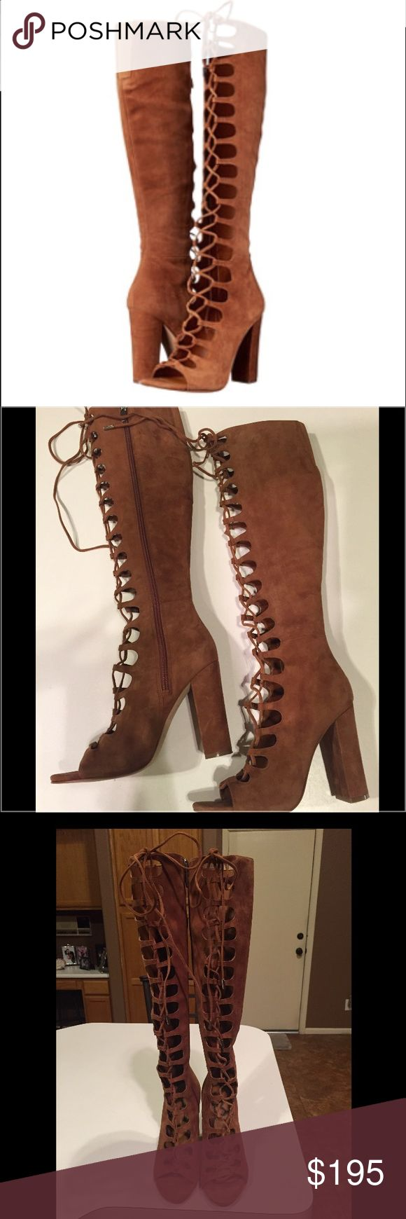 "Kendall and Kylie ""Emma"" Lace Up Gladiators Kendall and Kylie ""Emma"" Lace Up Gladiators Size 6.5 in Dark Natural. Excellent condition and only worn a couple of times. No signs of wear other than bottoms! Kendall & Kylie Shoes Lace Up Boots"