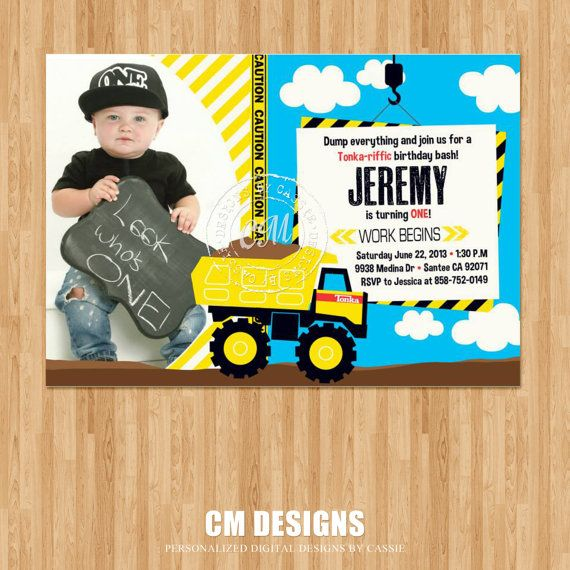 17 Best images about Maddox First Birthday – Tonka Birthday Invitations