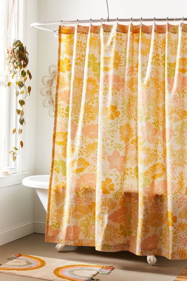 Gail Floral Shower Curtain Floral Shower Curtains Yellow Shower