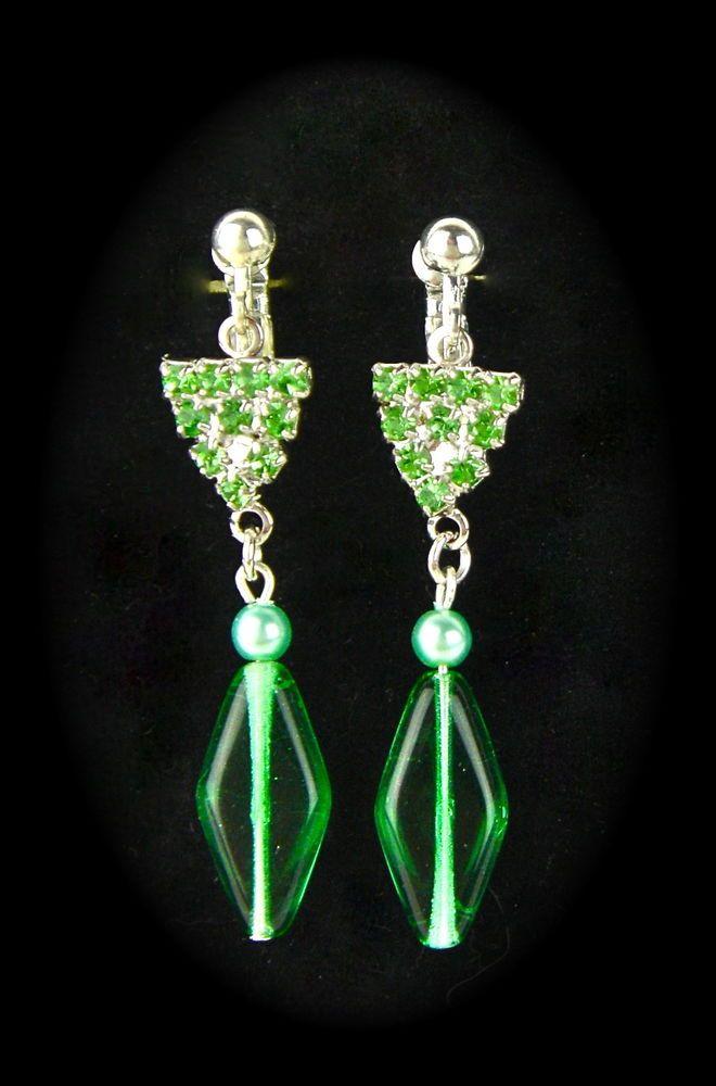Long Czech Glass Silver Earrings Dangle Drop GREEN Rhinestones Screwback Pierced #Unbranded #DropDangle