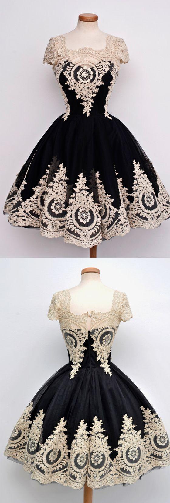 Cap Sleeves Unique Applique Little Black Cocktail Short Homecoming Dresses, PM0426