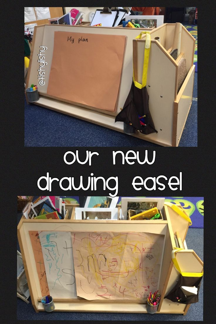 A kinder box (book storage) re-purposed as a drawing easel and storage in our large construction area.