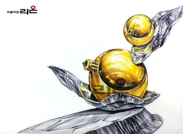 #기초디자인 개체묘사(금속 구, 은박접시) By llion