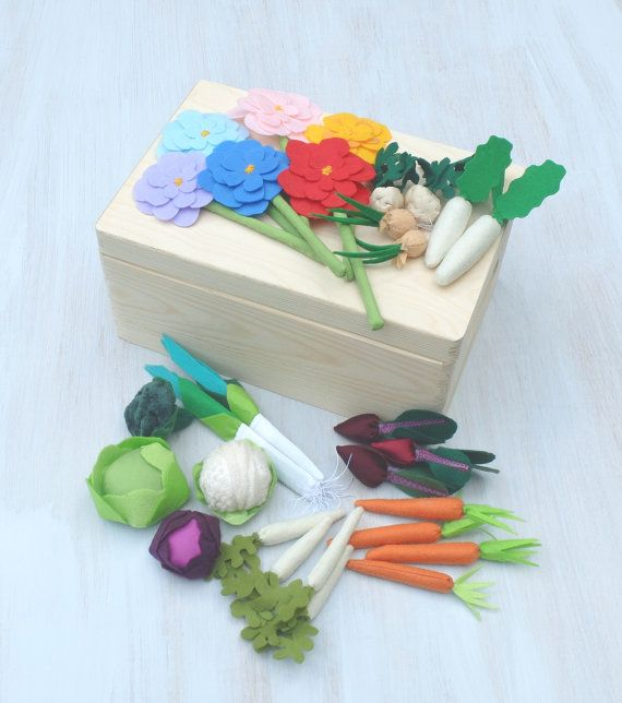 #FeltGarden Fabric #VegetableGarden Play #PretendVeggies by #Florfanka