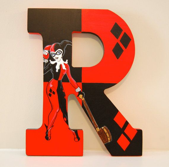 Harley Quinn Hand Painted Wooden Letters by LaceysCraftyLetters, $17.00