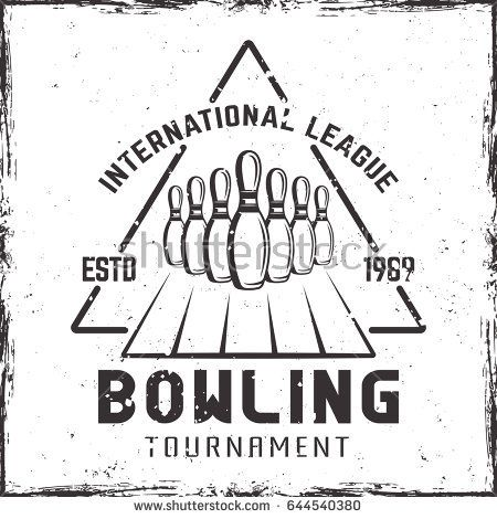 Bowling tournament vector label, emblem or logo in vintage style with skittles and grunge textures on white background
