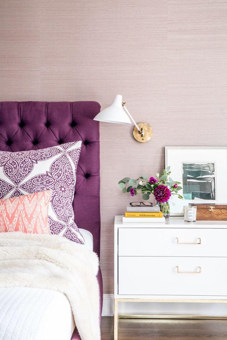 upholstered purple headboard