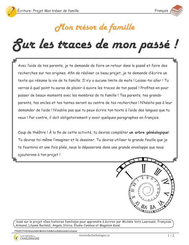 Mon Tresor De Famille Sur Les Traces De Mon Passe Ecriture Student Tools French Teacher Teacher Tools