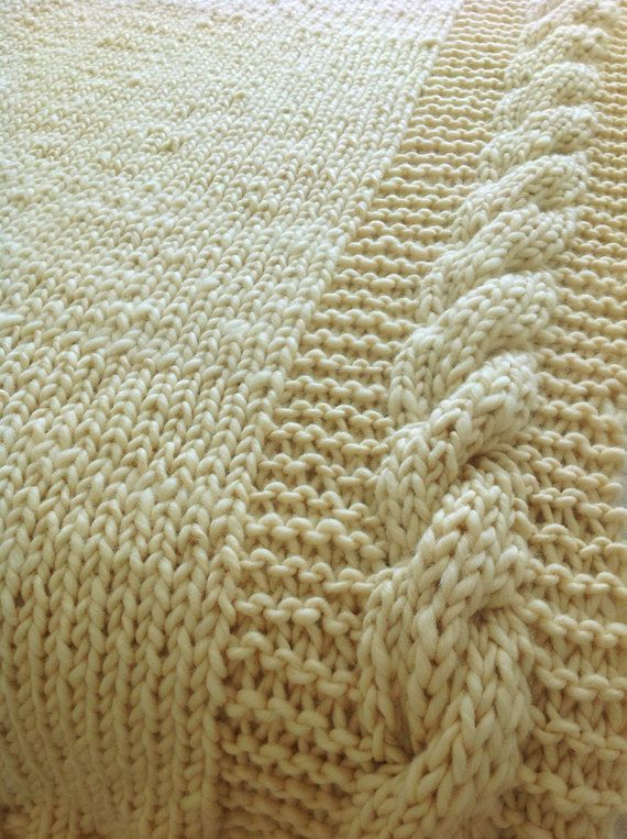 Cable knit blanket, pure wool.