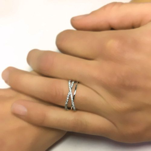 round cut art deco twisted diamond wedding ring 14k by ldiamonds anniversary - Wedding Anniversary Rings