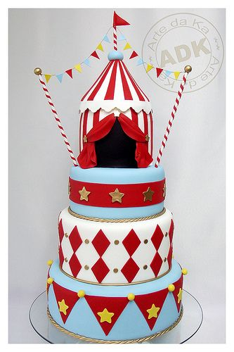Red, White and Baby Blue Stars, Harlequin & Stripes Circus Cake with Big Top Topper