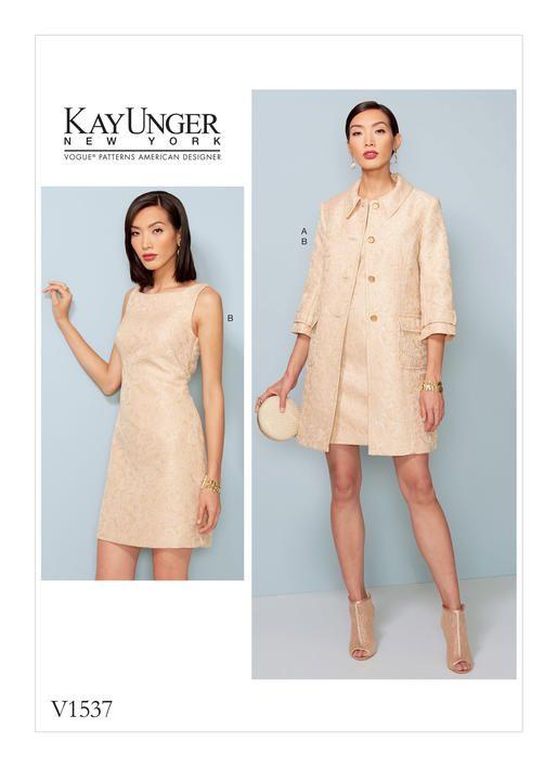 Kay Unger for Vogue Patterns. V1537 MISSES' PRINCESS SEAM JACKET AND V-BACK DRESS WITH STRAPS