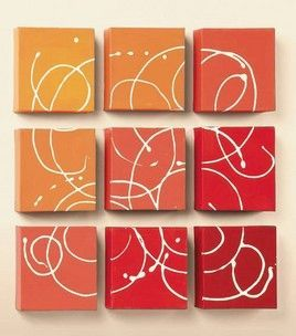 . Paint nine small canvases gradual shades. Once dry, take white paint in a squeeze bottle and swirl onto all the canvases. Separate canvases to dry, then hang 1″ apart. - See more at: http://craft-your-home.com/2013/02/16/fun-little-diy-modern-art-piece-paint-nine-small-canvases-gradual-shades-once-dry-take-white-paint-in-a-squeeze-bottle-and-swirl-onto-all-the-canvases-separate-canvases-to-dry-then-hang-1-apart/#sthash.hN5ZhtP8.dpuf