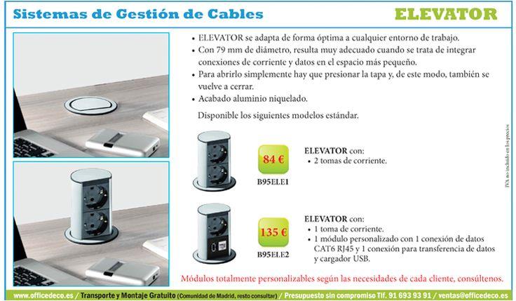 Elevator Sistemas de Gestión de Cables, se adapta de forma óptima a cualquier entorno de trabajo.