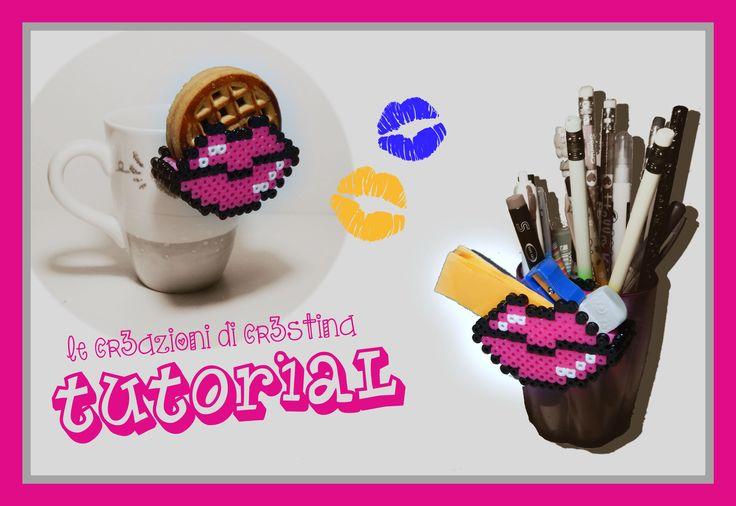 DIY Contenitore Labbra per Biscotti con Hama beads/Perler/Pyssla - Lips Biscuits Pocket by cr3stina Qui il tutorial: https://youtu.be/BhCn2GfjcCc