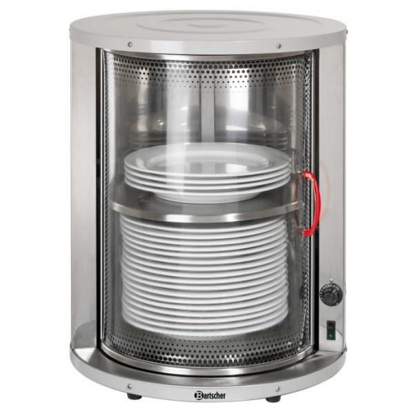 VETRINETTA SCALDAVIVANDEPER 30/40 PIATTI MONOFASE ART. 103069  Vetrinetta scaldapiatti per 30/40 piatti ø320 mm. Struttura in acciaio inox con ripiano intermedio. Porta scorrevole in vetro salvaspazio. Termostato regolabile da 30° ad 80° Alimentazione: monofase 220V 50 Hz Potenza: 0.60 kW Dimensioni: ø460mm X 575h mm. Peso: 21.6 Kg  Tempi di consegna: 7 giorni circa.