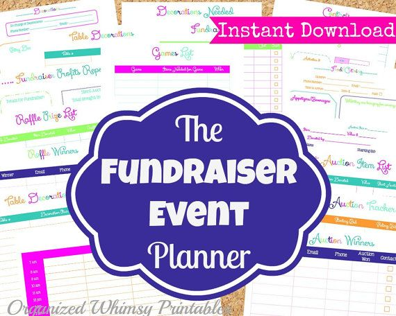 INSTANT DOWNLOAD - 17 Editable Pdf Documents-The Fundraiser Event Planner Kit- Event Planner Printables on Etsy, $12.00