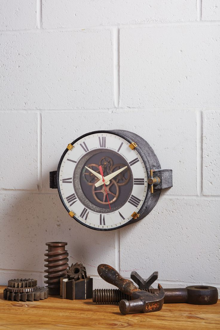35 best clocks images on pinterest clocks airplanes and aviation inspired by the master clocks that graced the factories in the 1940s the chicago factory wall clock features a bi level dial that reveals an open brass amipublicfo Images