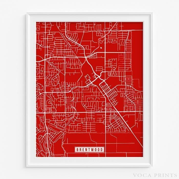 Brentwood California Street Map Print United States Street Map