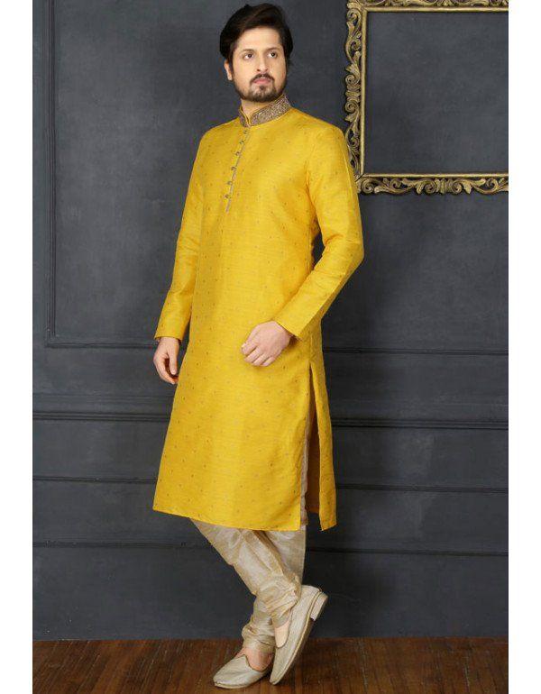 f90f94def0 Mango Yellow Art Banarasi Silk Kurta Set in 2019