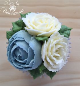 """""""Baby Blue and White Roses"""" Hand piped Buttercream Roses, by Kerrie Wyer 